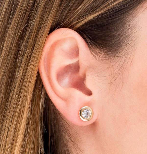 Round Gold Zircon Earrings