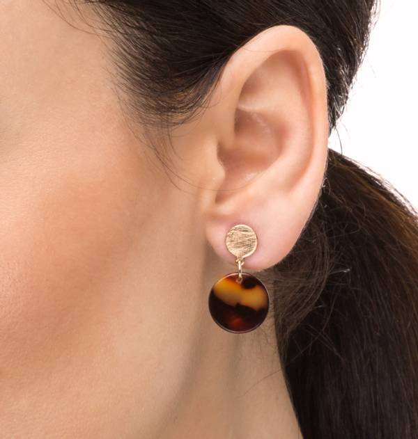 Round Earrings Striped Gold and Red tortoiseshell