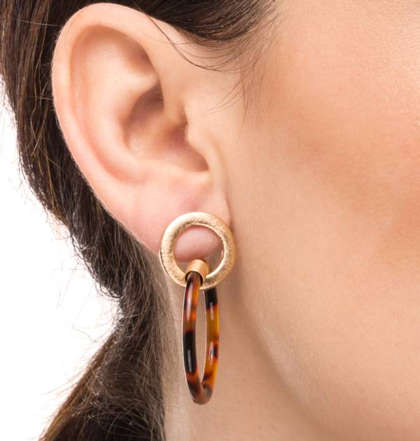 Striped Gold and red tortoiseshell Circle Earrings