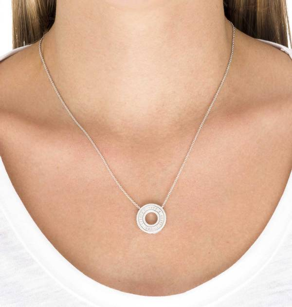 Platinum Circle Necklace zircons
