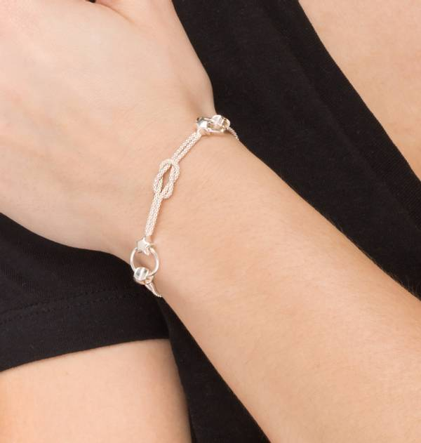Silver Double Chain Bracelet with links and stars