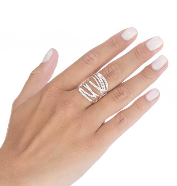Wide braided Silver Ring