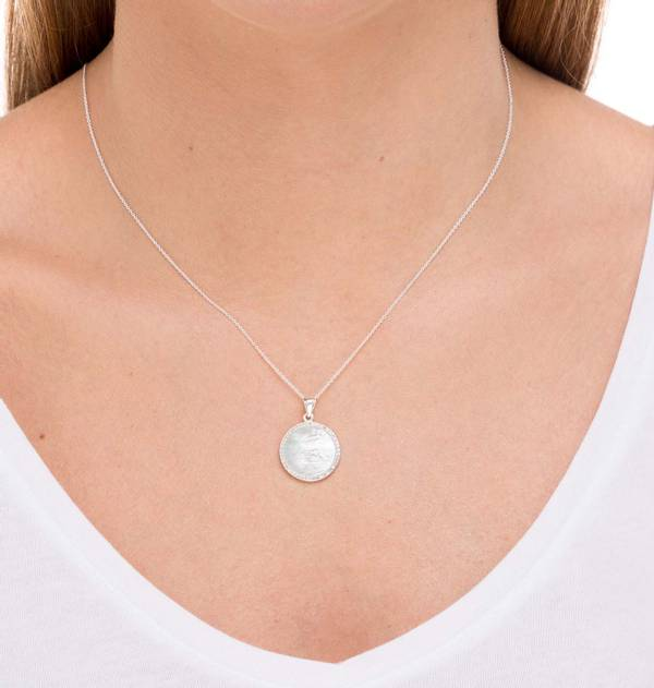 Silver Pendant with Zirconia and Mother of Pearl Medal