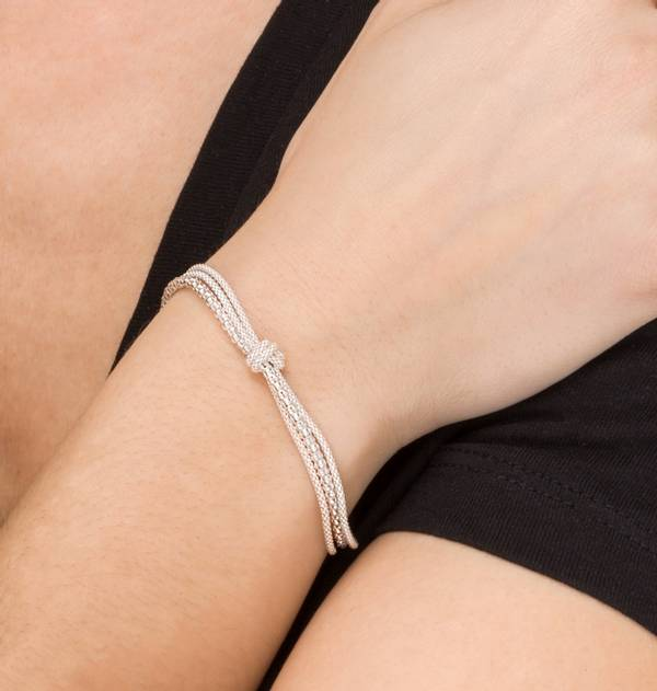 Silver Chain and Knot Bracelet