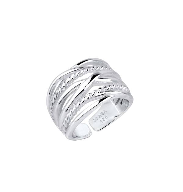 Silver intertwined braided Ring