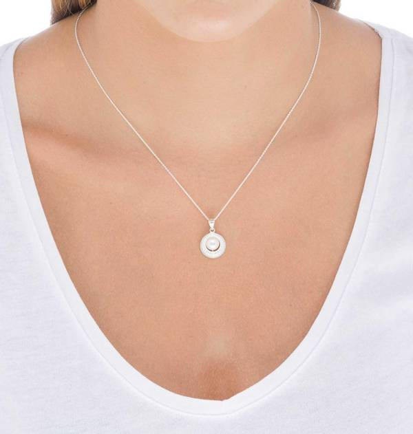 Silver Oval Zirconia and Cultured Pearl Pendant