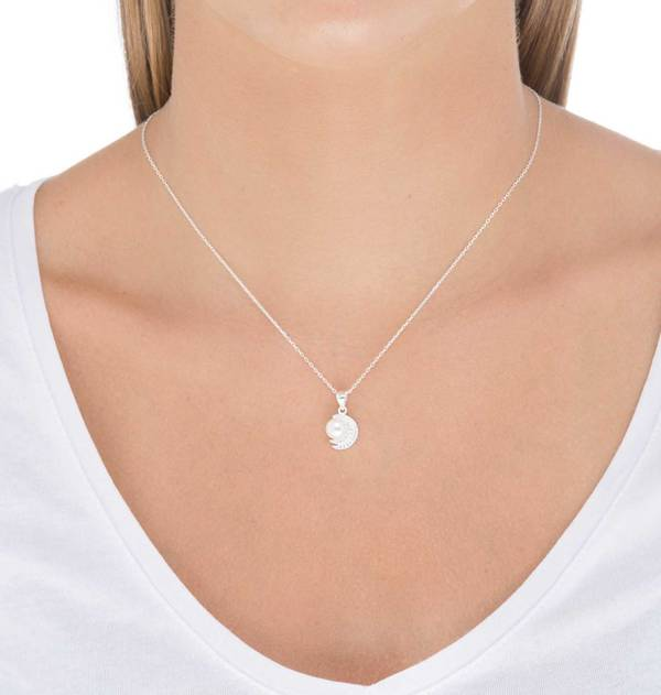 Silver Double Zirconia Moon Pendant with Cultured Pearl