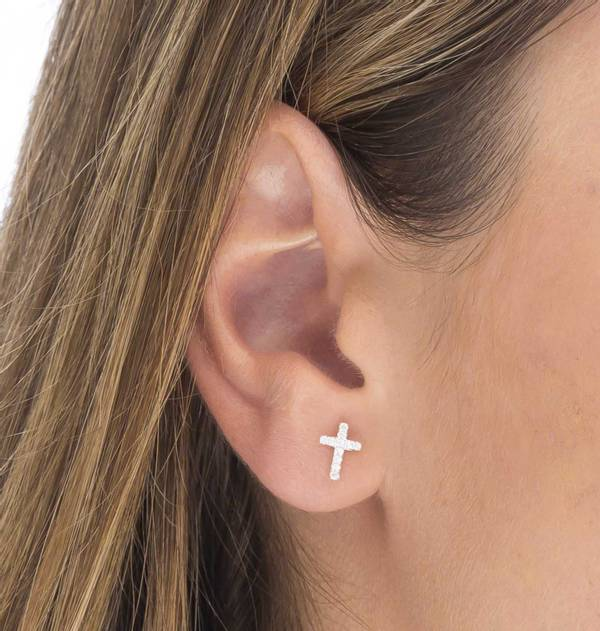 Individual Silver Earring with Zirconia Cross