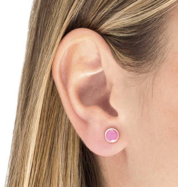 Silver earrings Round Pink