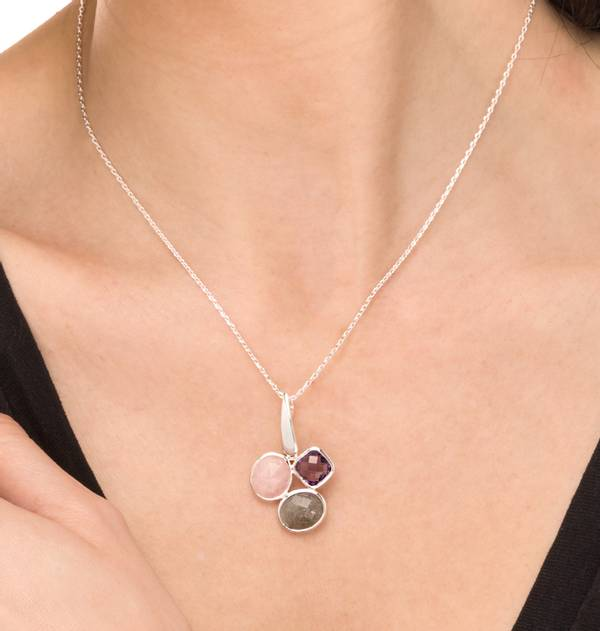 Silver Pendant with Colored Stones