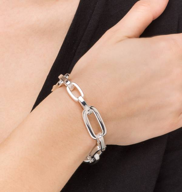 Silver Bracelet with thick links