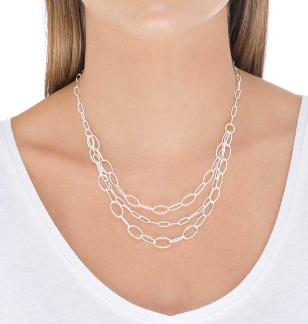Silver Necklace with three link chains