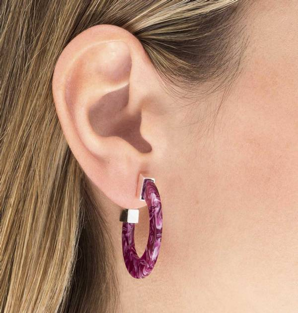 Carey Purple Flat Hoop Earrings with Gold Finish