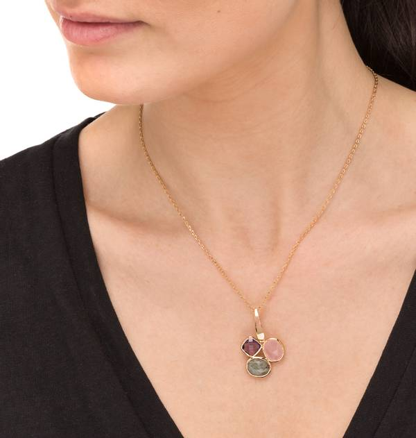 Gold Pendant with Colored Stones