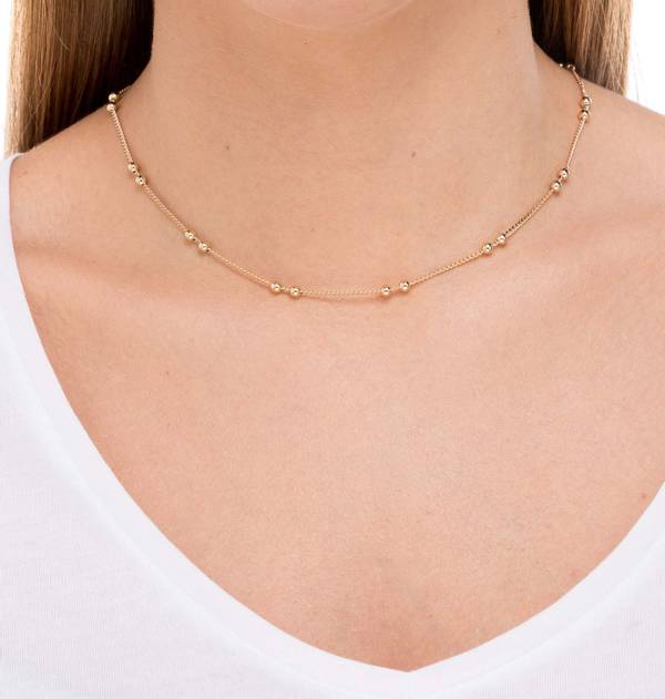 Double Ball Gold Necklace interspersed