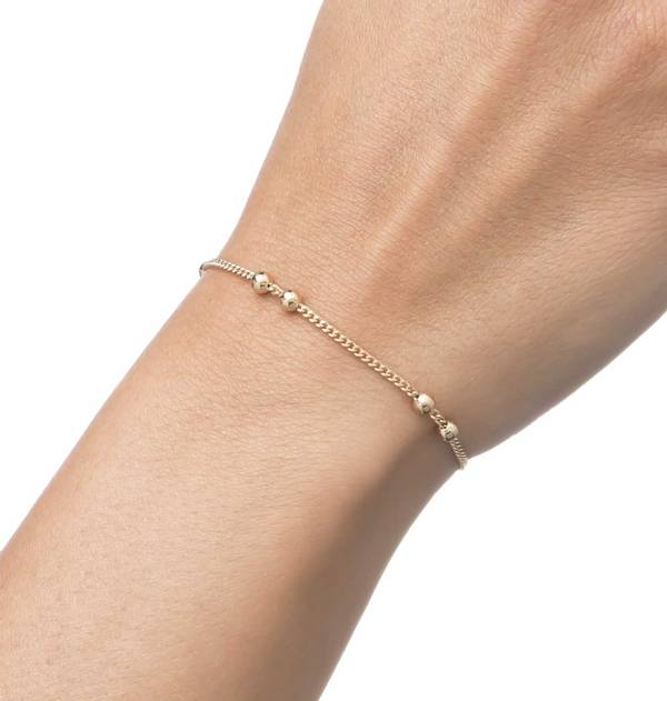 Double Gold Bracelet interspersed ball