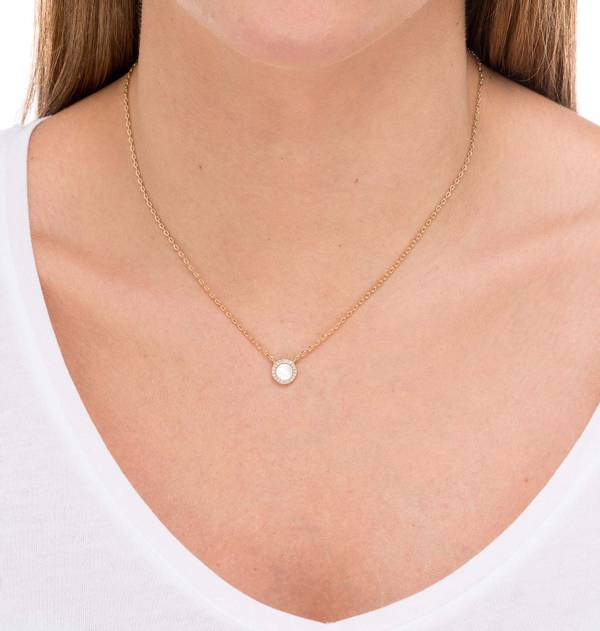 Gold Mother of Pearl and Zirconia Necklace