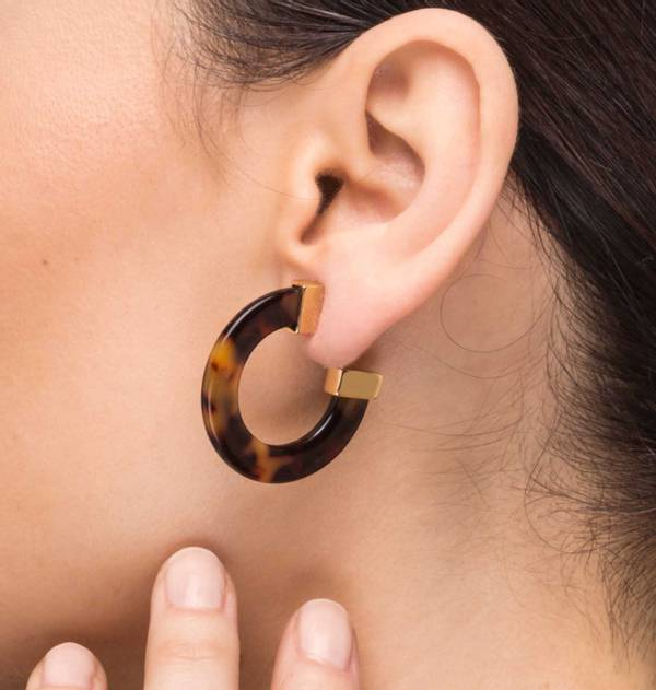 Carey Flat Hoop Earrings with Gold Finish