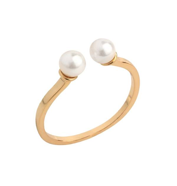 Double Pearl Gold Ring