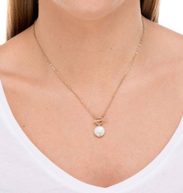 Flat Pearl Gold Necklace