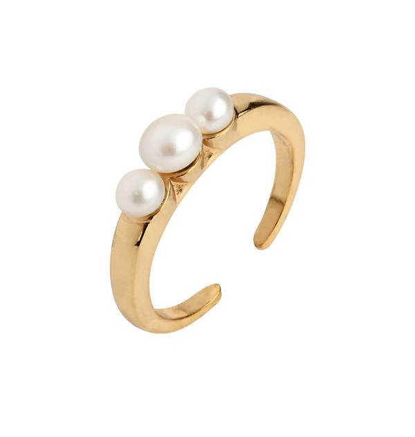 Triple Pearl Gold Ring