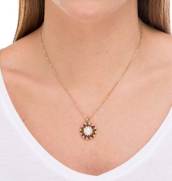 Gold Pendant Multicolor stone Pearl finish