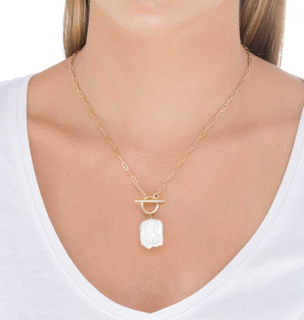 Square Pearl Gold Necklace
