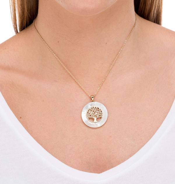 Gold Tree of Life Circle Pendant Mother of Pearl