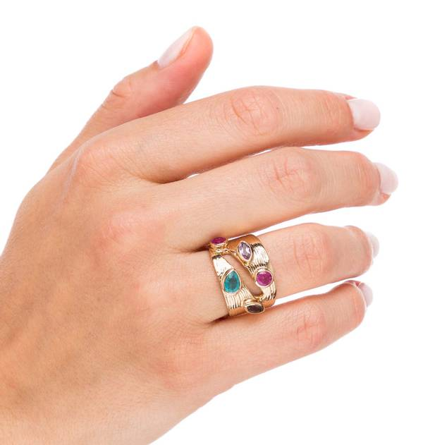 Wide Amethyst and Jade Gold Ring