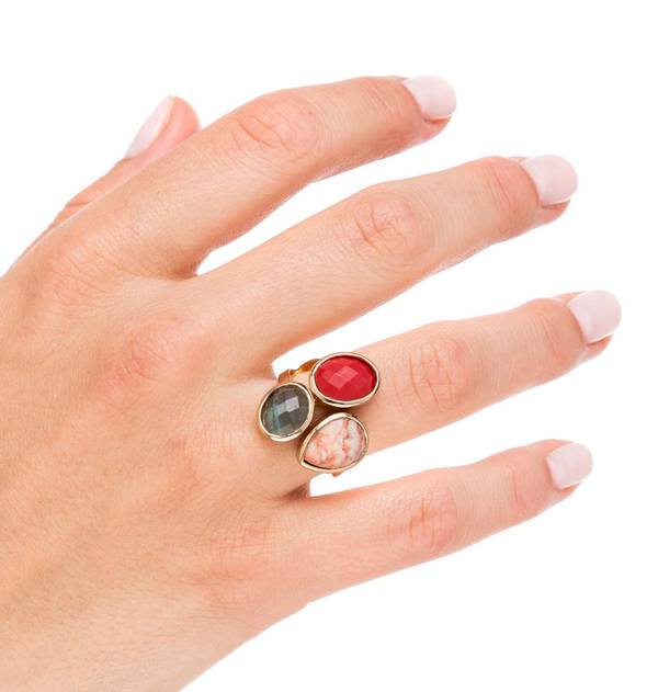 Red Stones Gold Ring Open