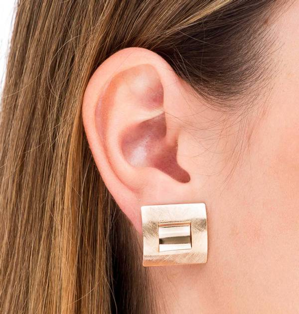 Silver earrings Square