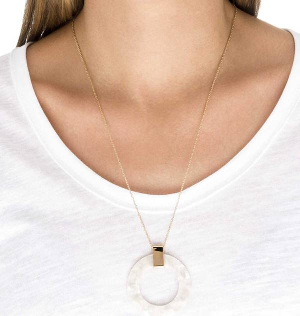 Gold and Hawksbill Circle Pendant White