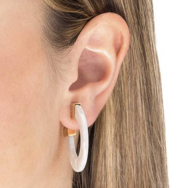 Carey White Hoop Earrings with Gold Finish