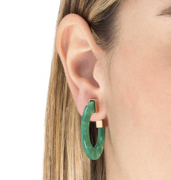 Carey Green Flat Hoop Earrings with Gold Finish