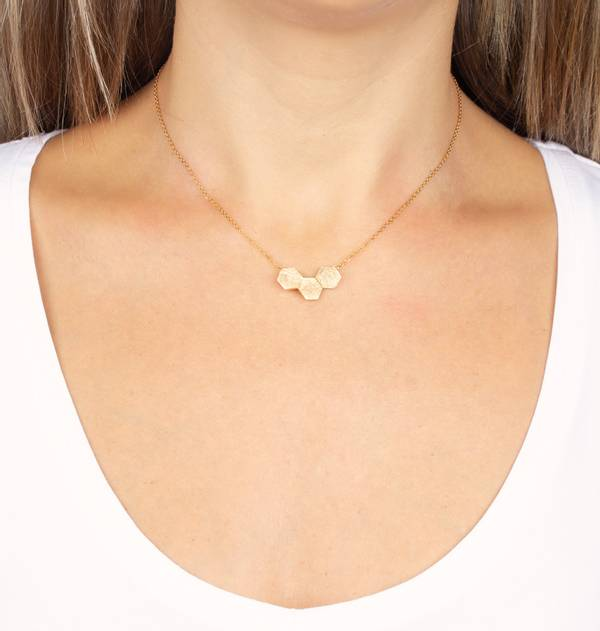 Gold necklace Hexagons
