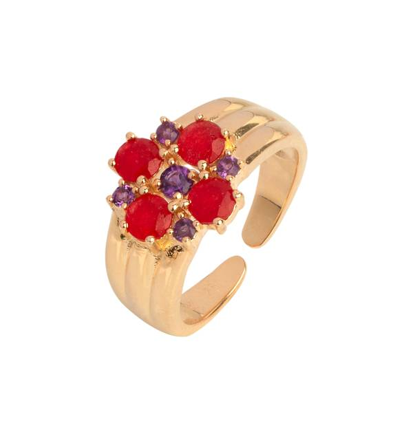 Ring Gold finish 18ct red flower