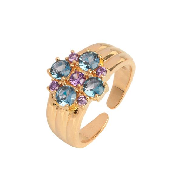 Ring Gold finish 18ct blue flower