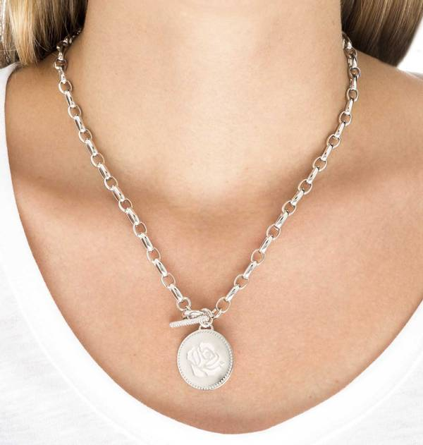 Engraved Rose Rhodium Necklace
