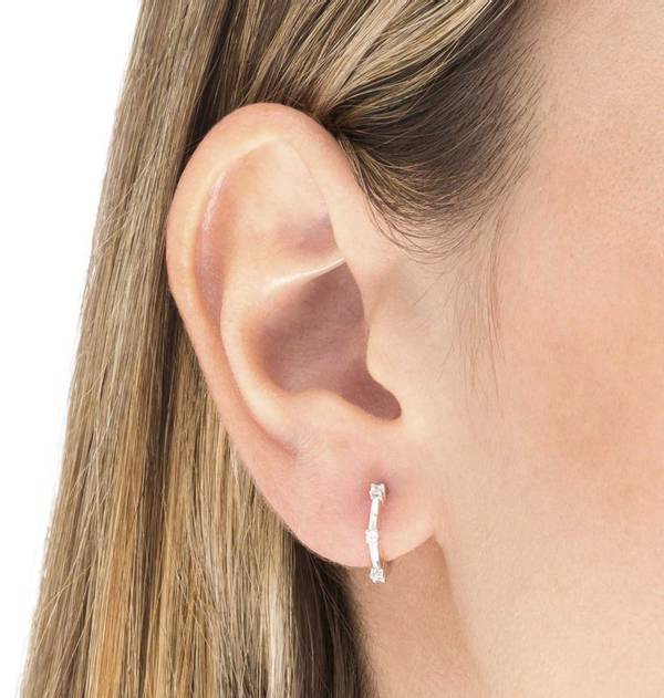 Silver Earrings with three Zircons