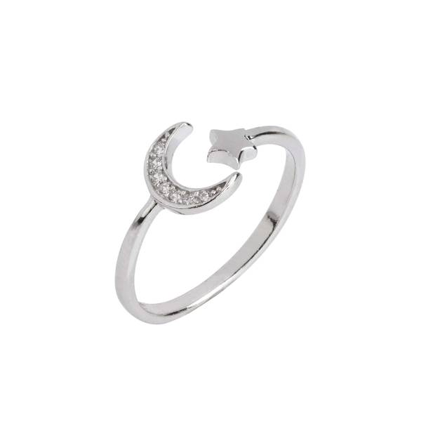 Fine Silver Moon and Star Ring