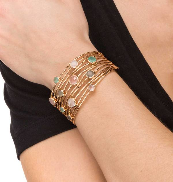 Rigid Gold Bracelet with Crystal Strips and Pastel Stones