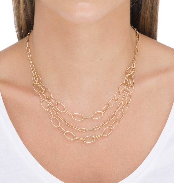 Gold Necklace with three link chains