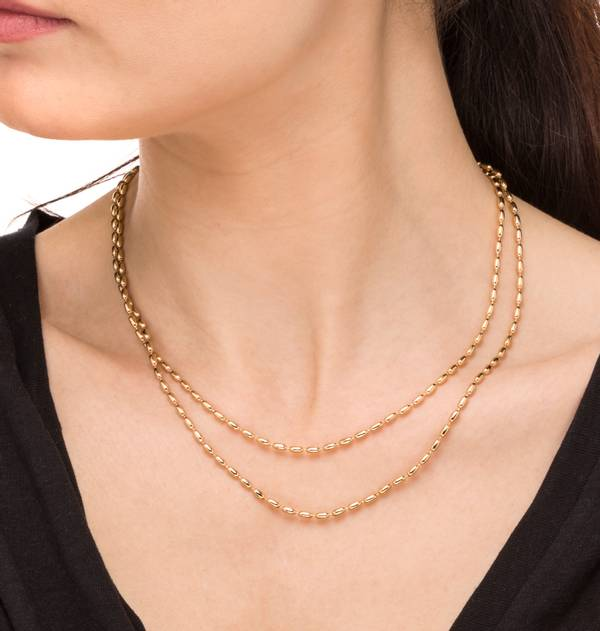 Double Ball Gold Chain Necklace