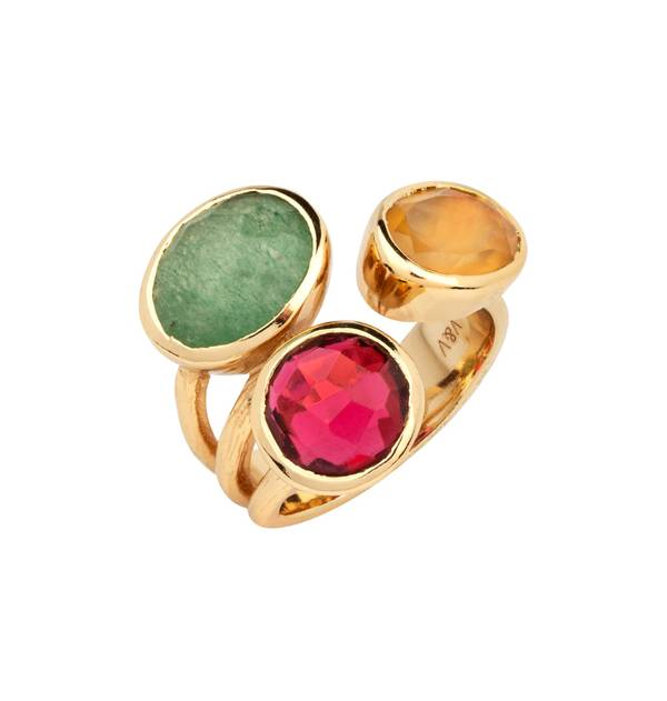 Open Gold Ring Multicolor Stones