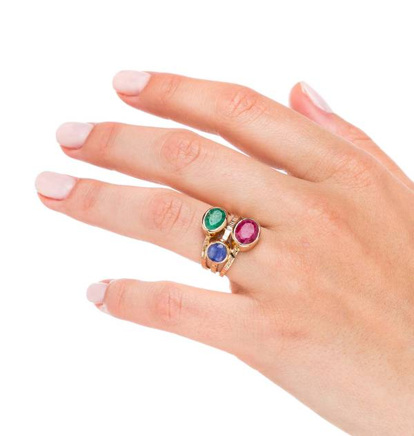 Multicolor Stone Strips Gold Ring