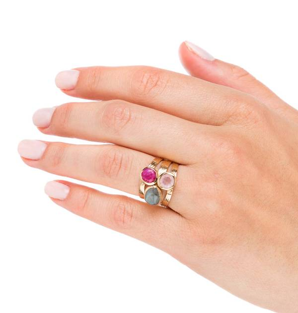 Pastel Stones Wide Gold Ring