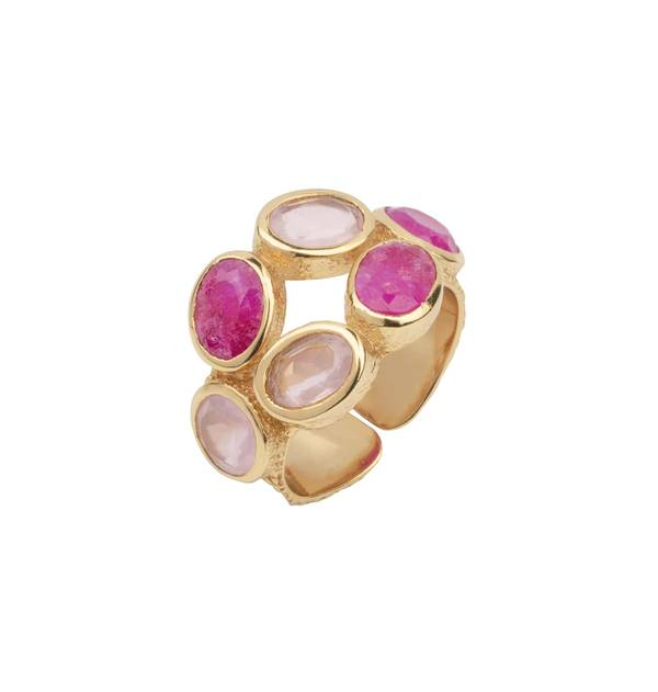 Gold ring adjustable Stones Roses