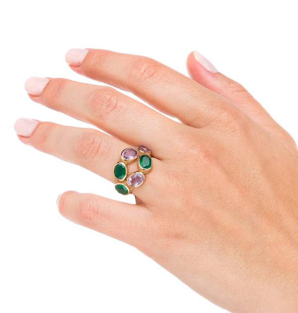 Gold ring adjustable Stone Green
