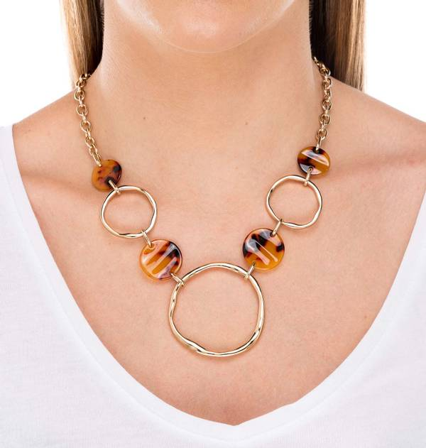Gold Hoops and Tortoiseshell Necklace