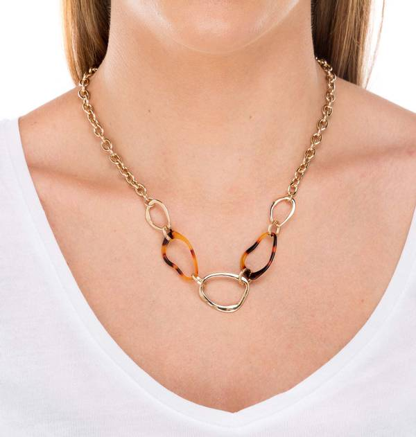 Gold and Tortoiseshell Link Necklace
